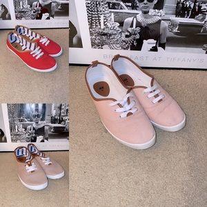 H&M Cotton Canvas Faux Leather Trim Sneaker Lot 3
